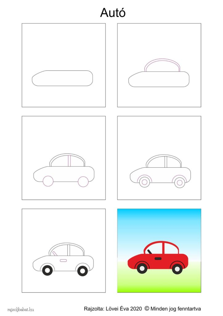 Egyszerű autó rajz lépésről lépésre