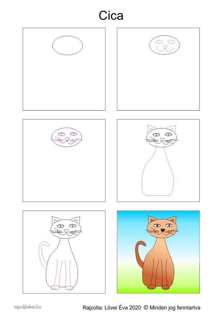 Egyszerű cica rajz lépésről lépésre