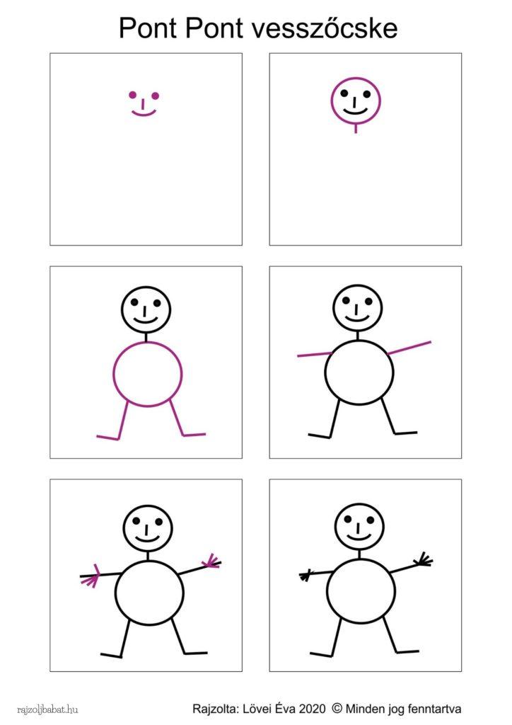 Egyszerű pont pont vesszőcske rajz lépésről lépésre